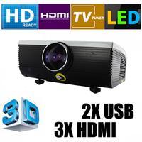 GR Stock LED 1080P HD 3D projector Home theather LED Projektor 3HDMI 2USB TV S-vedio VGA 1200:1 LCD HD 2000 Lumen