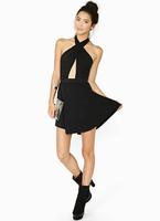 Free shipping!Sexy short black women nightclub clubwear dress chest waist cross hanging neck strapless backless party dress