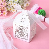 2014 New 50PCS Love Heart Laser Cut Candy Gift Boxes With Ribbon Wedding Party Favor Creative Favor Bags Free Shipping