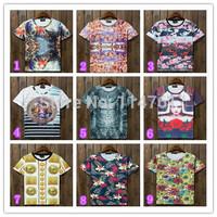 [hot sale] FREE SHIPPING Hot fashion New women/men flowers animal Funny 3D short T shirt galaxy T-shirt 3d top tee