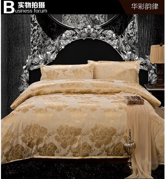 Da china broca de cetim de luxo têxtil lar conjunto de cama king size 4 pc tribute seda jacquard conjunto consolador rainha jogo de cama roupa de cama(China (Mainland))