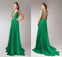 Elegant Green Long Dress V Neck Sleeveless A Line Floor Length Evening Gown Appliques Backless Chiffon Vestido De Noiva Curto