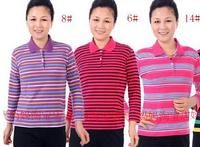 2014 autumn hot-selling quinquagenarian women's color stripe turn-down collar t-shirt lycra cotton wrist-length sleeve plus size