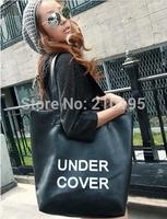 2014 lady fashion shoulder bag european style large size handbag shopping bag black free shipping