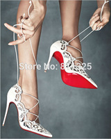 New 2014 popular Sexy Laser Pointed Toe Lace Up Women Pumps High Heels