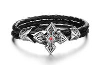 New Arrival Fashion Ruby CZ Cross Mens Bracelets Charm Stainless Steel Black Stainless Steel Leather Bracelet 3pcs/lot,BC1667
