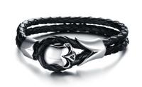 2014 New Arrival Fashion Charm Stainless Steel Black Gothic Skull Biker Leather Wrap Bracelet Cuff Bangle 3pcs/lot,BC1668