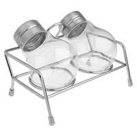2Pcs Bulb Shape Jar Seasoning Spice Shaker with Stainless Steel Rack + Retail Package