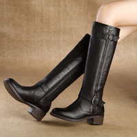 Boots for Women 2014 Fashion Side Zipper Genuine Leather Boots Female High-Leg Thick Heel Boots Black Women Shoes,Size 35-40