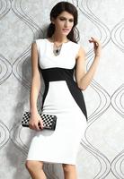 New 2014 Women Party Dress Patchwork V-Neck Sleeveless Midi Dress Hot Sale Free Shipping B4936 Eshow