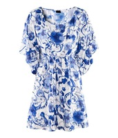 2014 Women beach Vintage dress also name loose dress with Blue and white porcelain Print C044