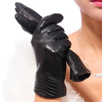 Fashion Women Genuine Sheepskin Leather Gloves V-shaped Points Driving F162