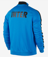 New Seasons 14 15 Inter Long sleeve black zipper coat men's football jackets sports outer garment appearance Free Shipping
