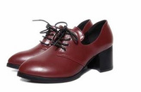 2014 new Britain Style Pointed toe women shoes lace-up quare heel shoes black red