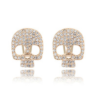 new brand design fashion woman Bestsellers 18K gold earrings crystal skull earrings 92852