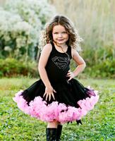 2015 new sale baby girls nylon fluffy petticoat black/pink 2 layers soft material original latest design infants short skirt