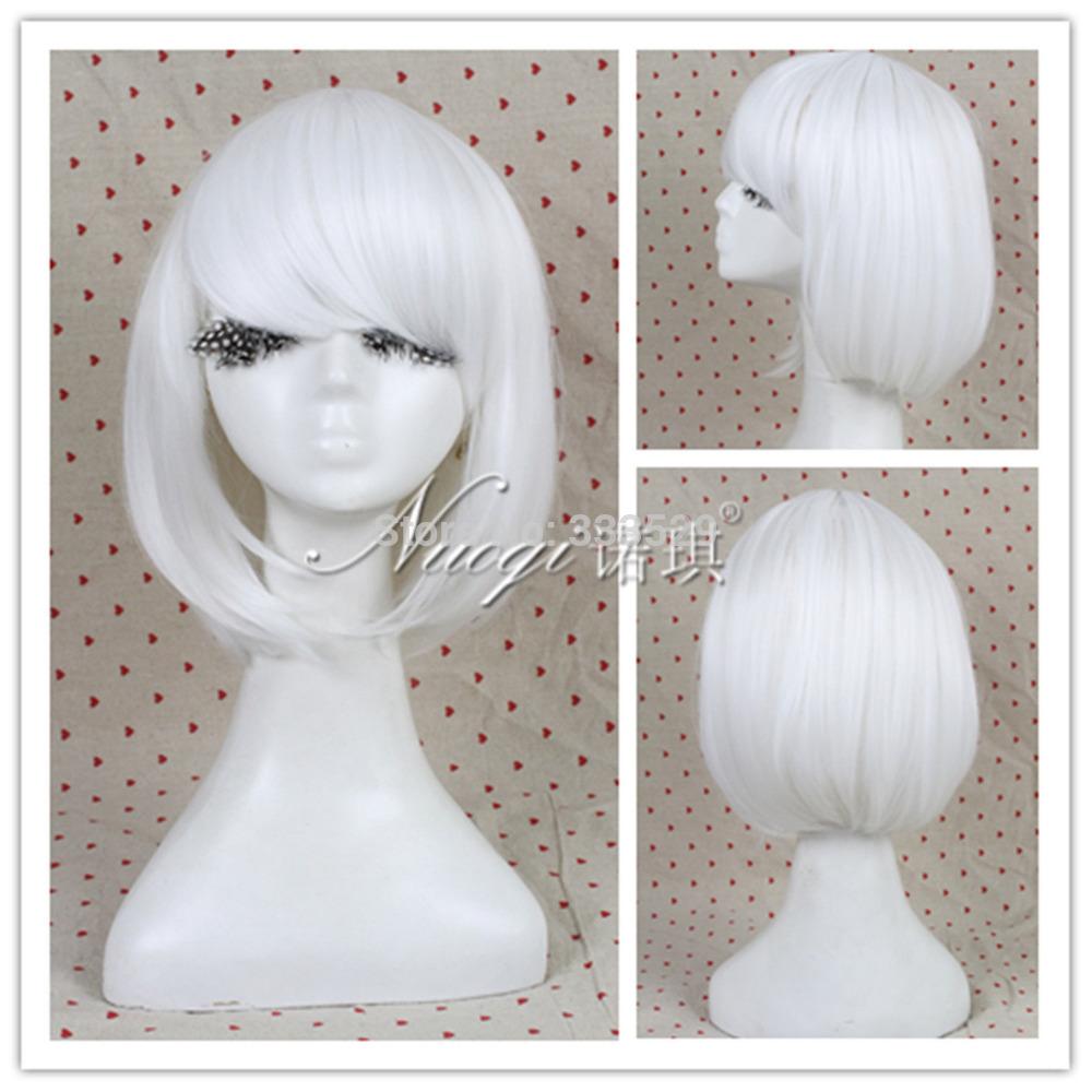 Wholesale 258w>>>HOT Fashion Lolita Bob Lady GaGa Women White Short Straight Cosplay Wig(China (Mainland))