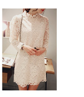 6419 fashion clothes new Korean lace embroidered A-line dress with high collar loose long-sleeved dresses women