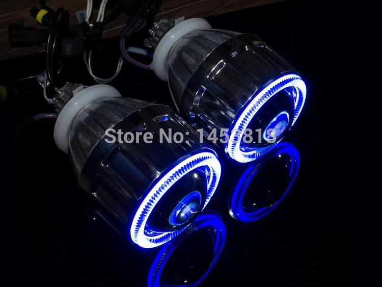 2.5'' HQ Bixenon HID Angel Eyes Headlight Projector Lens Fits For H4 H7 + Halos Ring+ Wiring+ Xenon Lamps, Car Styling Retrofit(China (Mainland))