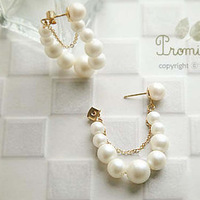 2014 New Needle Buckle string pearl earrings
