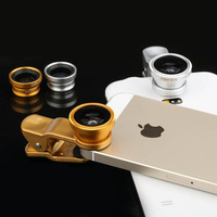 3 in 1 universal clip mobile phone lens Fish eye Lens Wide Angle Macro Lens phone lenses cell phone lens Free shipping