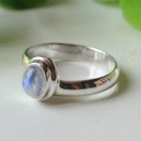 Bohemia small brief 925 silver handmade natural blue moonstone ring