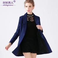 S-2XL 2014 brand higth quality antumn winter women soild slim medium-long woolen outerwear the trend of female overcoat coat