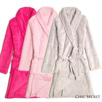 For chi c secret brief light gray shallow pink ff Women coral fleece sleepwear robe bathrobes