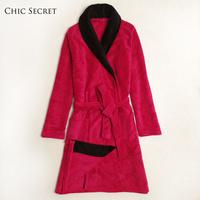 For chi c secret Women rose fashion autumn and winter coral fleece sleepwear robe bathrobes ff