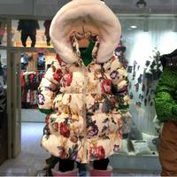 1pcs Girls Down Parkas Children Winter Outwear with Print Hooded Brand New Girl Down Coat Jackets Kids Outerwear Coats