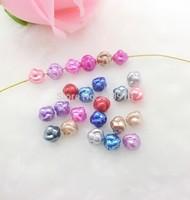 Free shipping-300PCs Random Mixed Pearl Imitation Acrylic Spacers Beads 9x10mm D2630