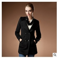 Winter 2014 European version of lady fashion long sleeved slim collar double breasted coat jacket