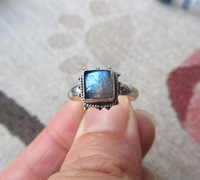 Silver 925 pure silver ring inlaying labradorite plus size 140011018