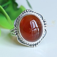 925 pure silver handmade vintage red corundum carneol ring finger ring new arrival