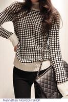 Women's cardigan Long Sleeve Plaid Sweater Contrast Monochrome Turtleneck Sweater FREE SHIPPING