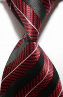 New Striped White Red Black JACQUARD WOVEN Men's Tie       406