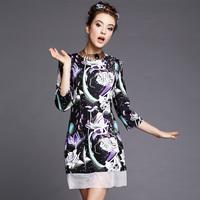 S-5XL Brand Elegant Lotus Floral Print Organza Patchwork Casual Dresses 2014 Autumn Winter Fashion Plus Size Women Clothing