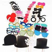 44 Funny Wedding Photo Props Moustache Lips on A Stick Christmas Birthday Party Favors