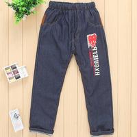 Male girls clothing child denim long trousers