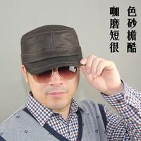Quinquagenarian genuine leather hat male casual cowhide scrub cadet cap