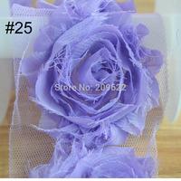 Fabric Flower In Chiffon Flower , Lavender Chiffon Flower Trim ,Wedding Dress Accessories Flower 6CM 10 yards