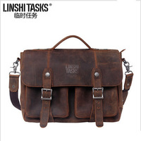 2014 Vintage patent brand 100% crazy horse genuine leather briefcase computer laptop bag shoulder men messenger bags portfolio
