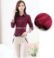 2014 Hot Professional Women winter warm velvet long-sleeved shirt Slim