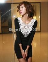 New 2014 fall Black Bodycon V Neck New Fashion Dress sexy Graceful Dress Free Ship