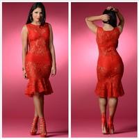 2015 Red Sleeveless Women Club Lady Lace Set Sexy Elegant Bandage Party Casual Bodycon Dress Vestidos Evening Dress 058