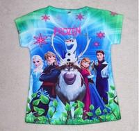 Free shipping New 2014 Baby Girls Frozen Girl T Shirt Kids Short Sleeve T-shirt Children Frozen T Shirt One Piece Retail