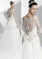 Hot Sale A Line Wedding Dresses Half Sleeve Cap Sleeve Bow Floor Length Bridal Gown 2014 New Arrival