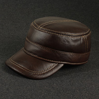 Hat autumn and winter male quality genuine cowhide leather flat military hat benn casual cap