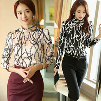 Blusas Femininas 2014 Camisas Women Blouse Ladies OL Long Sleeve Chiffon Shirt Plus Size XXL Tops Blouses Shirts.