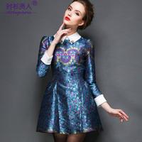 S-3XL 2015 brand new autumn winter turn-down collar long-sleeve dress fashion high quality women's puff casual dress party dress